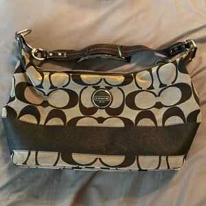 Authentic Coach Signature Stripe Hobo